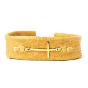 Dogeared Gold Dipped Camel Leather Faith Bracelet
